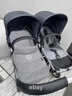 Bugaboo Donkey Duo 2 Double Twin Buggy Grey Melange With New Stellar Hoods