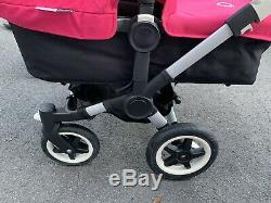 Bugaboo Donkey Twin Double Bassinet Stroller Black with Pink canopies