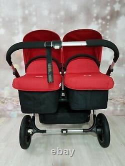 Bugaboo Donkey Twin Double Pushchair Pram Unisex Black / Red Mono / Duo New Hood