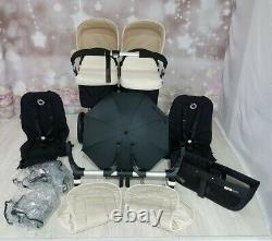 Bugaboo Donkey Twin Double Pushchair Pram Unisex Off White / black Mono / Duo