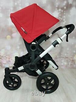 Bugaboo Donkey Twin Pram Unisex Black / Red Mono/ Duo Red Hoods + Black wheels