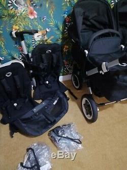 Bugaboo Donkey Twin silver and Black2 cots 2 seats double car seat adapter