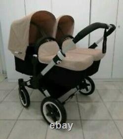 Bugaboo Donkey twin in sand with maxi Cosi pebble car seat