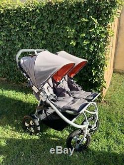 Bumbleride Bumble Ride Indie Twin Grey Adjustable Handle Double Stroller