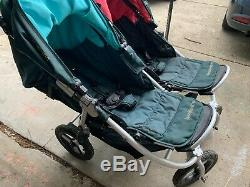 Bumbleride Indie Twin Stroller In Lotus Green, IT-750LT with Pink & Blue Awnings