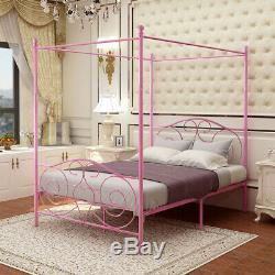 Canopy Bed Frame TWIN/FULL Size Metal Platform Princess for Girls Kids Adult