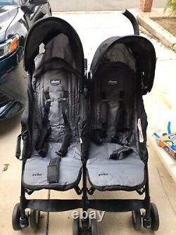 Chicco Echo Twin Side by Side Baby Toddler Kids Double Umbrella Stroller, Coal