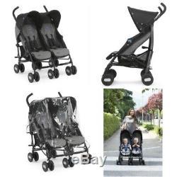 Chicco Echo Twin Stroller Double Baby Pushchair (Coal Grey)