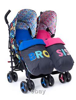 Cosatto Supa Dupa 3 Twin Stroller Bro & Sis Inc Footmuffs & Raincover 0 -25kg