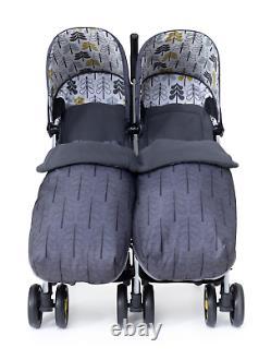 Cosatto Supa Dupa 3 Twin Stroller Fika Forest Inc Footmuffs & Raincover 0 -25kg