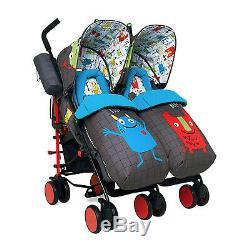 Cosatto Supa Dupa Twin Double Lightweight Buggy Pram Pushchair inc Raincover