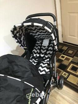 Costway Foldable Twin Double Stroller, Black and White