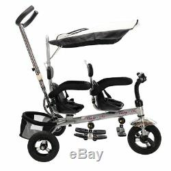 Costzon 4 In 1 Dual Twins Kids Trike Baby Toddler Tricycle Safety Double Rotatab