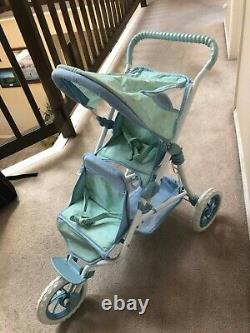Discontinued American Girl Bitty Baby double twin stroller blue