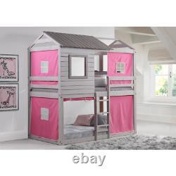 Donco Kids Deer Blind Pink Tent Twin Bunk Bed Loft