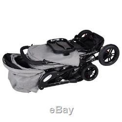 Double Baby Stroller For Twins Infant Foldable Strollers Reclining Seats Gray 34