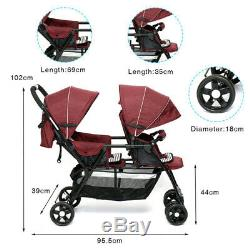 Double Baby Stroller Twin City Tandem Infant Car Seat Carrier Travel Carriage 2