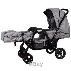 Double Baby Stroller Twin Face To Face Storage Space Grey Reclining Seat Canopy