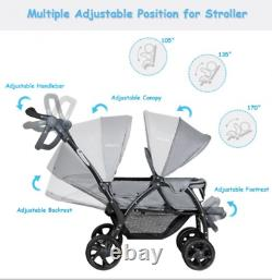 Double Baby Stroller Twin Seat Pushchair Buggy Storage Basket Adjustable Handle