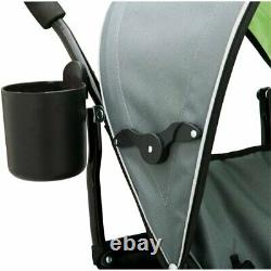 Double Baby Stroller Twin Umbrella Folding Pushchair Infant Safety Travel Gray