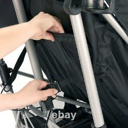 Double Baby Stroller Twin Umbrella Folding Pushchair Infant Safety Travel Grey