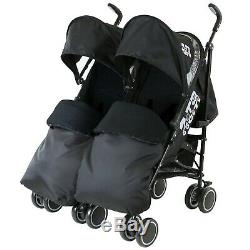 Double Black Twin Stroller Pushchair Buggy Complete Rain Cover Footmuff