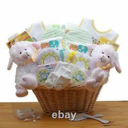 Double Delight Twins New Baby Gift Basket Yellow