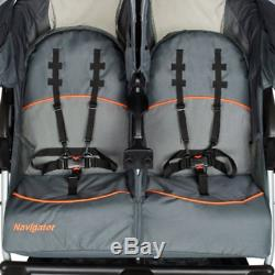 Double Jogging Stroller Baby Twins Jogger Carrier MP3 Speakers Toddler Kids Cart