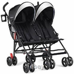 Double Light-Weight Stroller, Travel Foldable Design, Twin Umbrella Sun Canopy