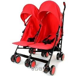 Double Red Twin Stroller Pram Pushchair Buggy Inc Raincover & Footmuffs