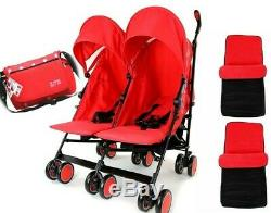 Double Red Twin Stroller Pushchair Buggy Inc Rain Cover Footmuff & Bag