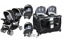 Double Stroller 2 Infant Car Seats Baby Travel System Twins Playard Combo Set