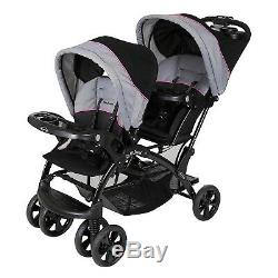 Double Stroller Baby Sit n Stand Kids Travel Pushchair Umbrella Tandem Twin Pink
