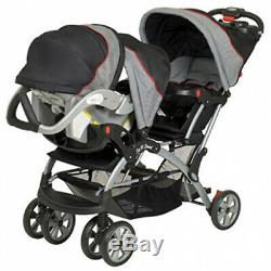 Double Stroller Gray Travel System Baby Twin Car Seat Carrier With Cup Holders