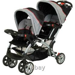 Double Stroller Travel System Baby Twin Car Seat Carrier with Cup Holders Gray