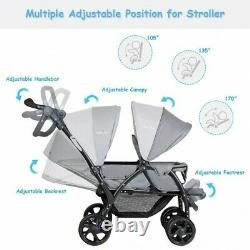 Double Stroller, Twin Baby, Pram, Infant Foldable Strollers Lightweight Gray