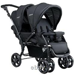Double Twin Baby Stroller Infant Wagon Easy Fold W Canopy Two Black Seat Child