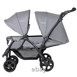 Double Twin Baby Stroller Two Seat Ride On Car Foldable Easy Folding Canopy Cart