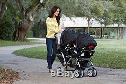 Double Umbrella Baby Stroller Connect Twins Toddlers Glacier Canopy Footrest