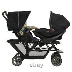 Duo Tandem Twin Seat Buggy Stroller Pushchair Black /Grey Kids Toddler Children