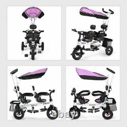 Durable Twins Kids Baby Tricycle withSafety Double Rotatable Seat-Pink
