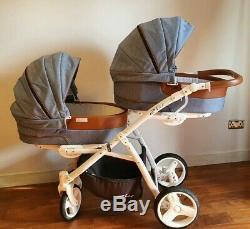 EasyGO 2ofUS twin stroller/pushchair/pram + FREE EXTRAS