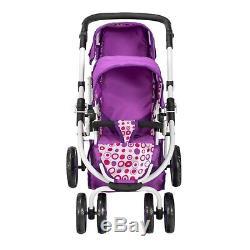 Ella Tandem Stroller Baby Kids Toy Pram Double Buggy Twin Dolls Pushchair Girls