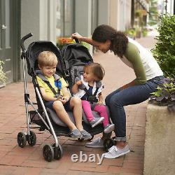 Evenflo Minno Double Seat Compact Fold Twin Baby Travel Stroller, Glenbarr Grey
