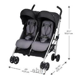 Evenflo Minno Twin Lightweight Double Stroller, Gray and Black