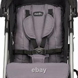 Evenflo Minno Twin Lightweight Double Stroller Oversized Canopy Gray and Black
