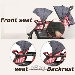 Foldable Double Stroller 2 Seat Prams Twin Buggy Baby Pushchair Front & Backseat