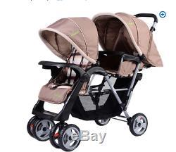 Foldable Twin Baby Double Stroller Jogger Cochecito Doble Pasear Bebe Se Dobla