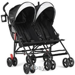 Foldable Twin Baby Double Stroller Ultralight Umbrella Kids Stroller-Black