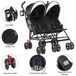 Foldable Twin Baby Toddler Double Stroller Ultralight Umbrella Kids Travel Chair